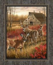 "Springs ~  Realistic DEER BUCK DOE Amongst Shadow ~ 100% Cotton 36"" Fabric Panel"
