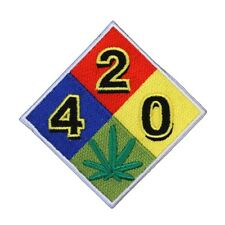 "Fire Diamond ""420"" Pot Leaf Patch Warning Dank Weed Marijuana Iron-On Applique"