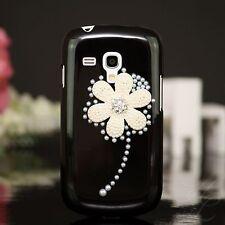 Samsung Galaxy S Duos S7562 Hard Case Hülle Etui Perlen Steine 3D Blume Schwarz