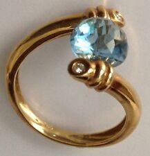 18K Yellow Gold Fancy Cushion cut Blue Topaz and Diamonds Ring 3 carats