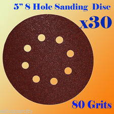 "5"" 8 Hole 80 Grit Sand Disc Paper Random Orbit Sandpaper Hook and Loop Sander"