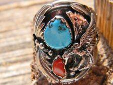 Spectacular sterling silver Navajo ring full eagle turquoise coral size 12