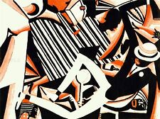 PAINTINGS DRAWING AFRICAN AMERICAN JAZZ TWO TONE REISS COLOUR PRINT LV3010