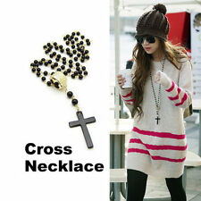 Cool Mens Women Cross Pendant Black Rosary Beads Necklace Chain Fashion