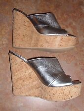 DEE KELLER SHOES Silver Leather Mules Cork Platform Wedges 37.5 WORN 1 TIME ONLY