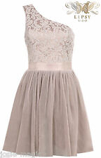New Lipsy VIP One Shoulder Pleated Daydream Lace Prom Dress UK 16 Party Evening