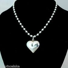 Sterling Silver Puff Heart Bead Necklace Hecho Mexico MD28V Diseno en Plata