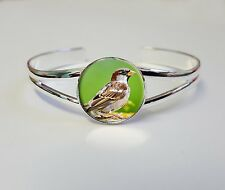 Sparrow sur un plaqué argent bracelet gourmette costume bijoux femme cadeau L59