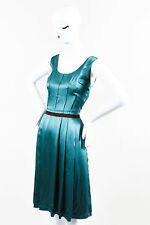 Dolce & Gabbana Teal Silk Satin Pleated Paneled Sleeveless A Line Dress SZ 42