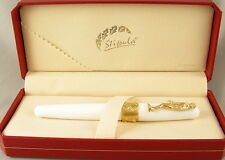 Stipula David White & Gold Rollerball Pen In Box - NEW - Italy - $175 MSRP