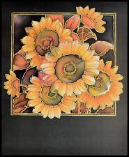 P. Korinek Moderne Blumen Poster Kunstdruck mit Alu Rahmen in schwarz 50x40cm