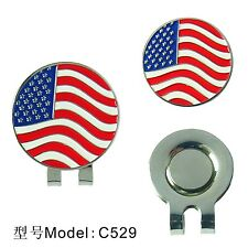 American Flag Golf Ball Marker With Magnetic Hat Clip Clamp New With Retail Box