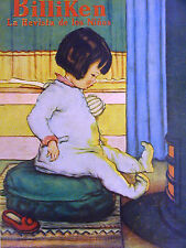 Billiken Cover LITTLE GIRL WARMING TOES in FIREPLACE 1930 Spanish Matted Print