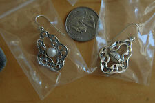 """Passage to Israel Sterling Silver 1.5"""" 7mm Pearl Abstract Drop Earrings"""