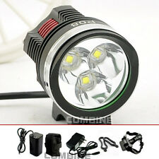 6000Lm 3X CREE XM-L T6 LED Front Bicycle Head Lamp Bike Light Headlamp Headlight