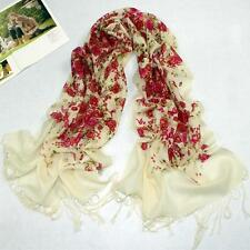 Red Rose Pattern Pashmina Women Long Wool Scarf Shawl