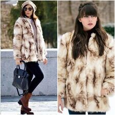 FABULOUS ZARA ECRU/BROWN SOFT FAUX FUR JACKET COAT L