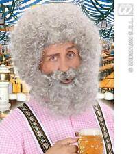 Light Grey Curly Afro Wig With Beard Sailor Santa Claus Old Man Fancy Dress