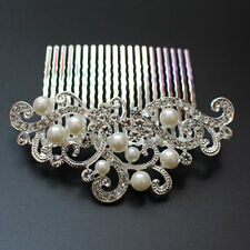 Vintage Wedding Imitate Pearl Comb Silver Plated Bridal Crystal Hair Combs Clip