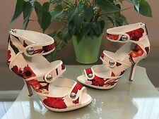 Ladies Karen Millen white orange floral open toe zip back shoes UK 4.5 EU 37.5