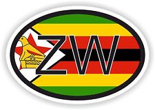 ZIMBABWE AFRICAN COUNTRY CODE OVAL FLAG STICKER bumper decal car bike tablet