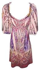 NEW SIZE SMALL PINK PAISLEY SUMBLIMATION SOFT VNECK DESIGNER FASHION WOMEN DRESS