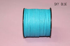 wholesale new 10yd 3mm Sky blue Suede Leather String Jewelry Making Thread Cords