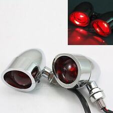 Chrome Bullet LED Red Indicator Turn Signal Light For Harley Chooper Bobber Dyna