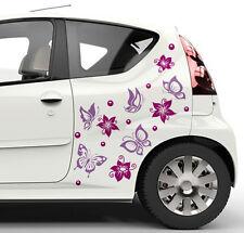 Autoaufkleber Blumen und Schmetterling Set Autotattoo Autostiker Farbauswahl