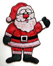CUTE SANTA CLAUS CHRISTMAS XMAS CARTOON Embroidered Iron on Patch Free Postage