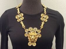 Massive Runway Haute Couture Signed OSCAR DE LA RENTA Doorknocker Lion Necklace