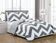 Chezmoi Collection 2pc Gray White Chevron Reversible Zig Zag Comforter Set, Twin