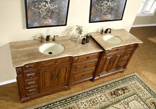 "95"" Lavatory Travertine Stone Top Bathroom Double Vanity Dual Sink Cabinet 904T"