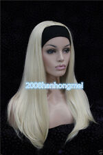 2017 Ladies Cute Long Straight blonde 3/4 wig with headband half Cosplay Wigs