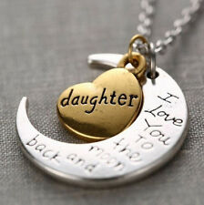 """DAUGHTER"" I Love You to the Moon and Back Necklace Heart MOTHER MOTHERS DAY"