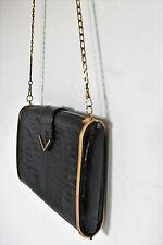 Vintage Mock Crocodile Black Detachable Strap Art Deco Gold Frame Clutch Bag