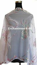 Elegant Lace Butterfly Scarf Shawl Wrap w Sequin & Crochet Fringe, White