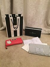 Authentic Anya Hindmarch Coral Capra Large Zip Round Victory Wallet Eyes Detail
