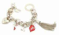 Zest Linked Chunky Chain Charm Bracelet Silver & Red