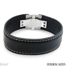 Black Leather Bracelet with White Overstitching, DYRBERG/KERN, DEV/B, 8 Inch