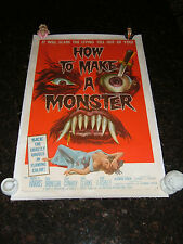 "HOW TO MAKE A MONSTER Original Movie Poster, 27""x41"", C8.5 Very Fine/Near Mint"