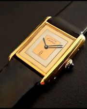 Authentic Cartier Vermeil Tank Mechanical Midsize Men's Watch~Amazing Dial !