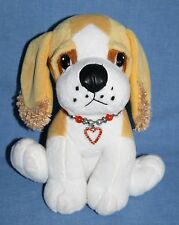 "Fiesta Valentine Heart Charm Bracelet DOG 8"" Collar Tan White Soft Plush Toy Pup"