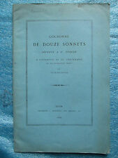 COURONNE DE DOUZE SONNETS OFFERTE A SAINTE THERESE + PHOTO CARMELITE DIJON, 1882