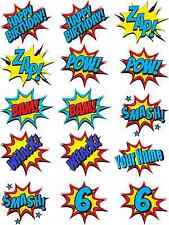 Super Hero Batman Cartoon Speech Callouts Edible Icing Birthday Cupcake Toppers