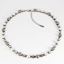 Collier Kette Tennis Silber Swarovski Kristalle Pavé Perlen Crystal klar weiß