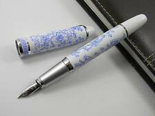 Jinhao Blue And White Porcelain Blue Flowers Medium Nib Metal Fountain Pen 9bb2