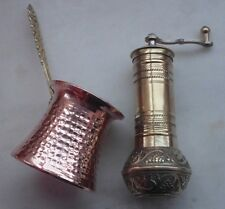 Turkish Coffee Grinder Mill BRASS 6.3 inc and Coffee maker cezve,traditional set