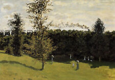 Oil painting Claude Monet - Train In The Country with people in garden canvas