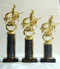 SET OF THREE HALLOWEEN TROPHIES WITCH /BROOM TROPHY HALLOWEEN COSTUME BLACK